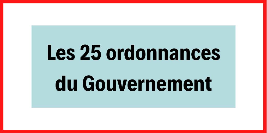 Les 25 ordonnances du Gouvernement prises après habilitation par le Parlement